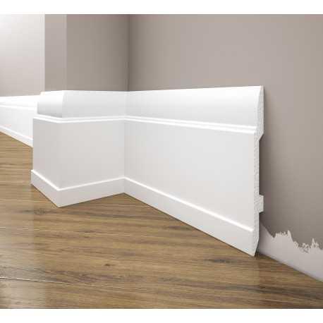 Baltos spalvos grindjuostės LGC25M (244x14.4x1.3) cm.