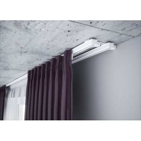 Karnizas lubinis baltas 2 bėgelio.150 cm.