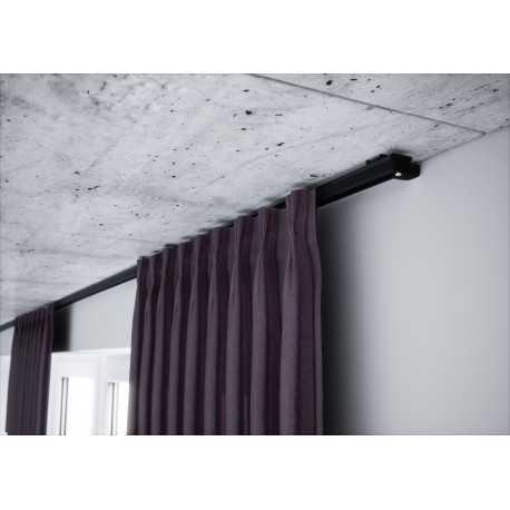 Karnizas lubinis juodas 1 bėgelio komplektas.250 cm.