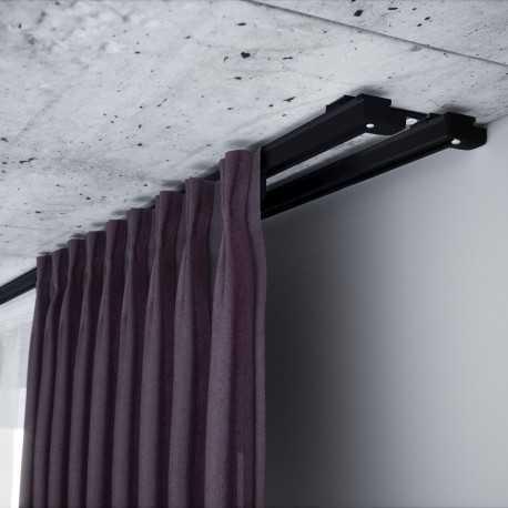 Užuolaidų 2 bėgelio komplektas.150 cm.(juodas).